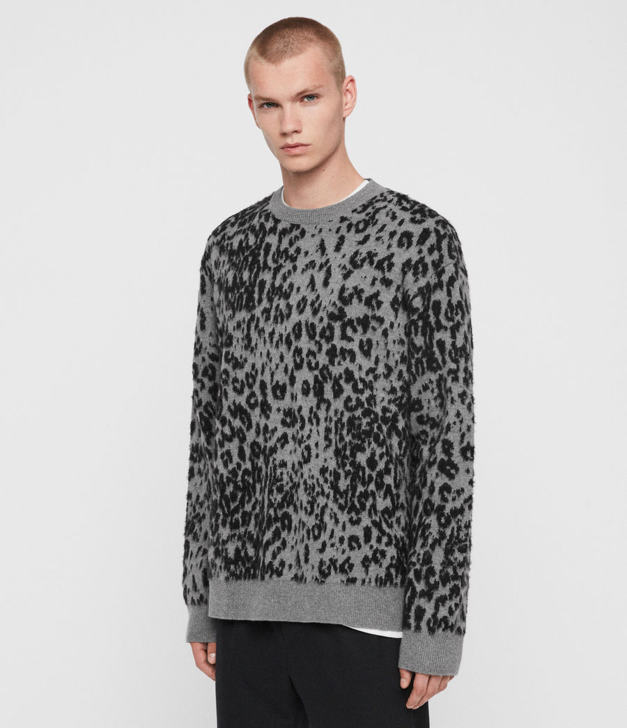 Mens Wildcat Crew Sweater (grey_marl_black) - Image 4