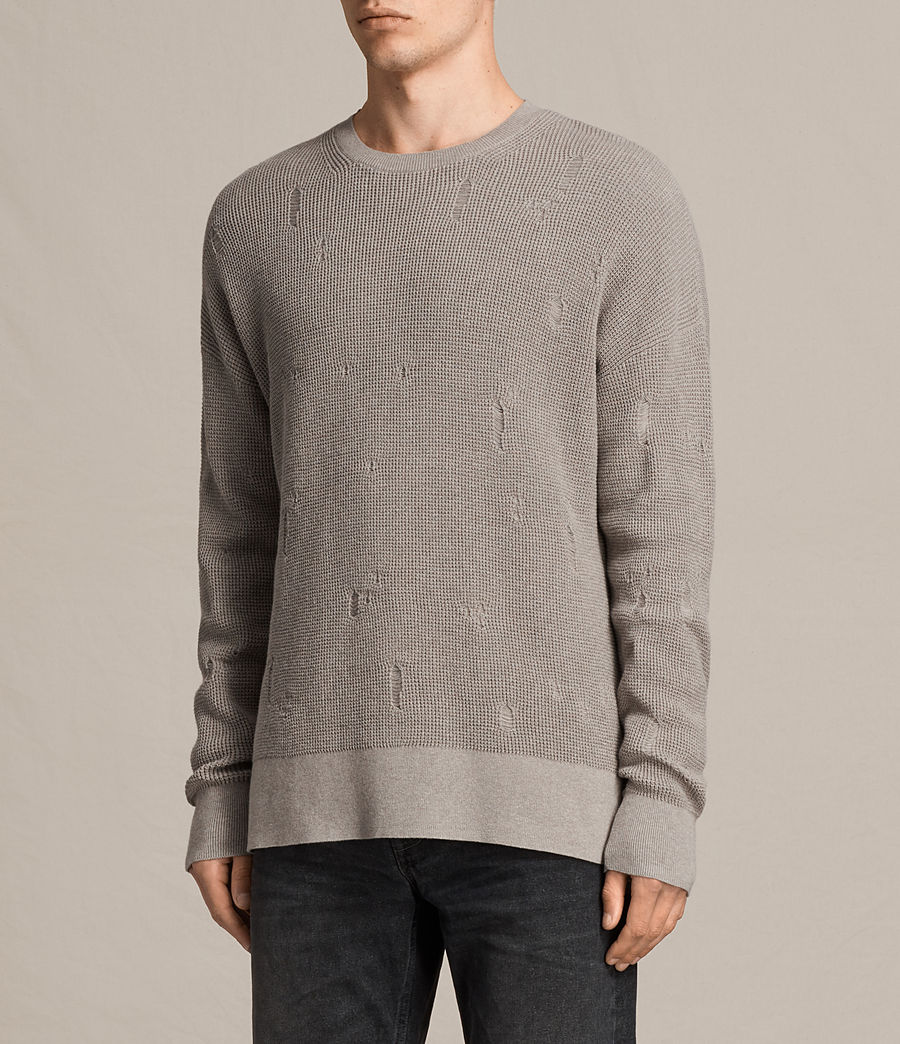 Men's Forram Long Sleeve Crew Jumper (putty_grey_marl) - Image 2