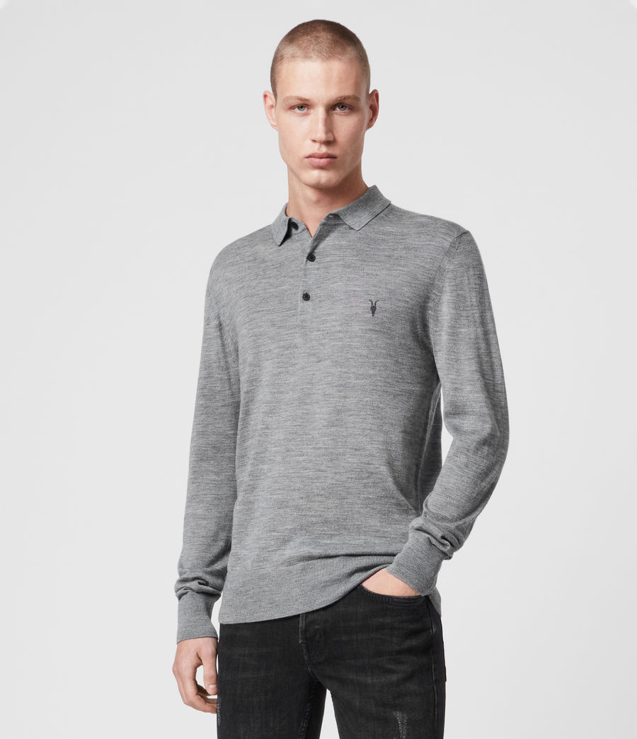 Mens Mode Merino Long Sleeved Polo (grey_marl) - Image 1