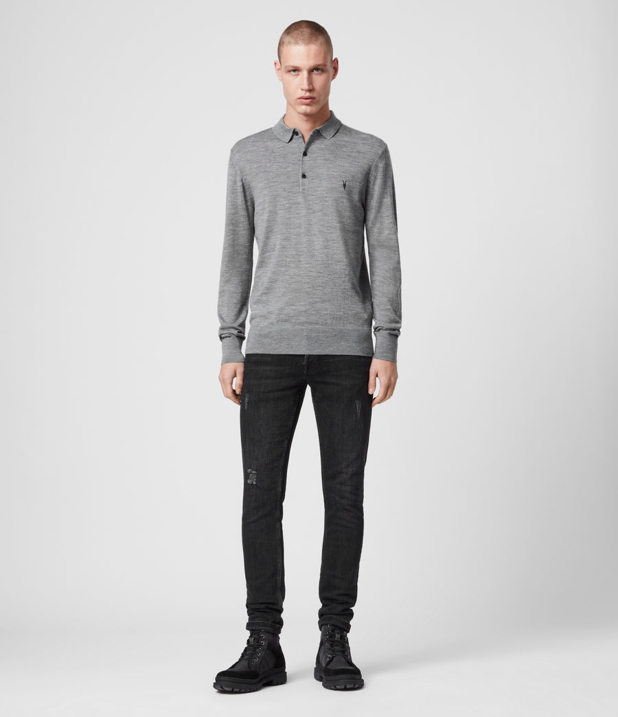 Mens Mode Merino Long Sleeved Polo (grey_marl) - Image 3