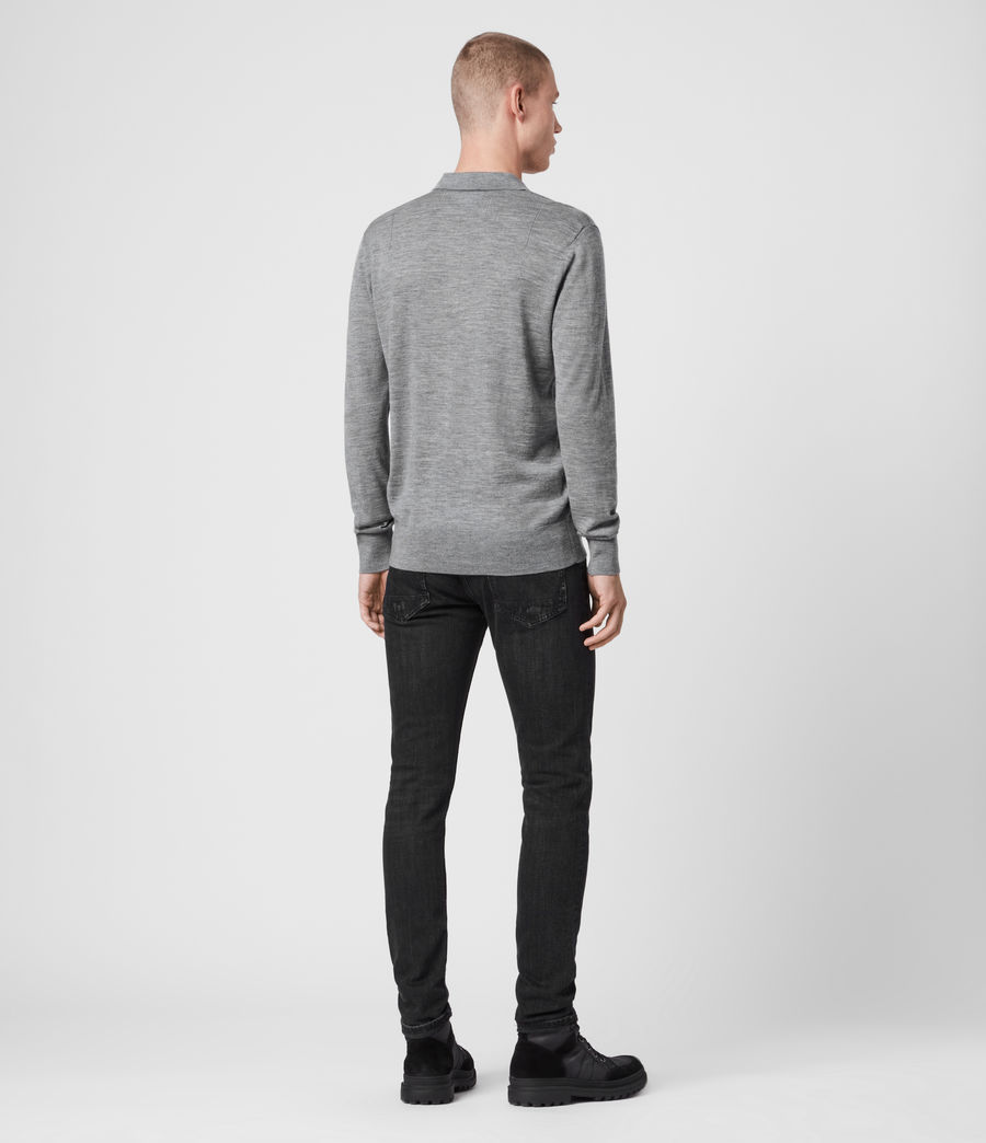 Mens Mode Merino Long Sleeve Polo Shirt (grey_marl) - Image 4