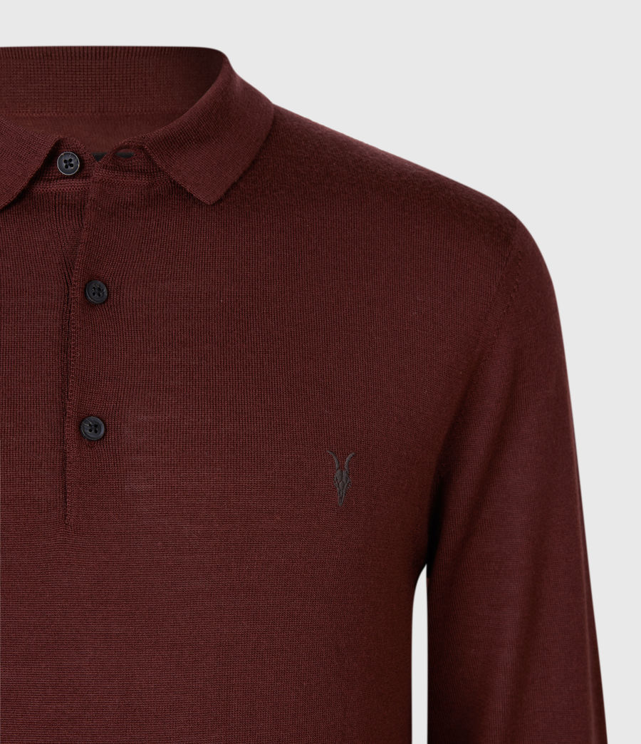 Men's Mode Merino Long Sleeve Polo Shirt (grey_marl) - Image 4