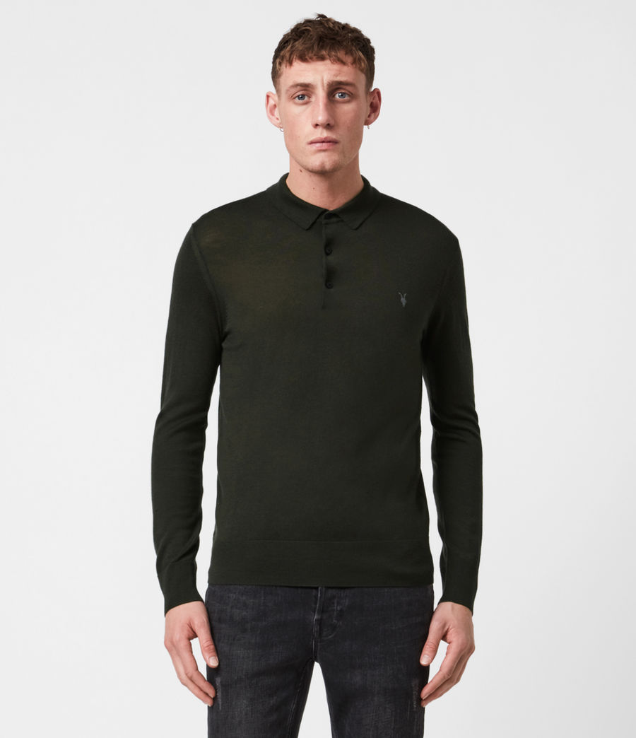 Mens Mode Merino Long Sleeve Polo Shirt (grey_marl) - Image 1