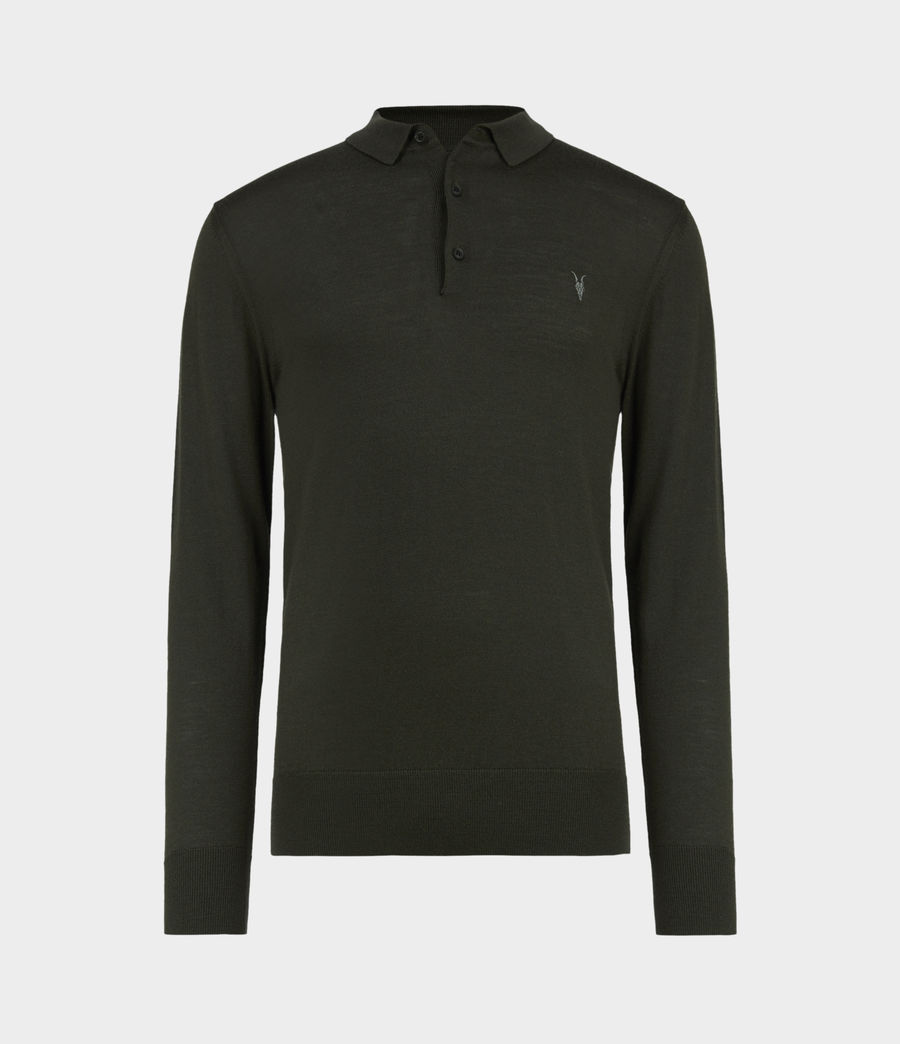 Mens Mode Merino Long Sleeve Polo Shirt (grey_marl) - Image 2