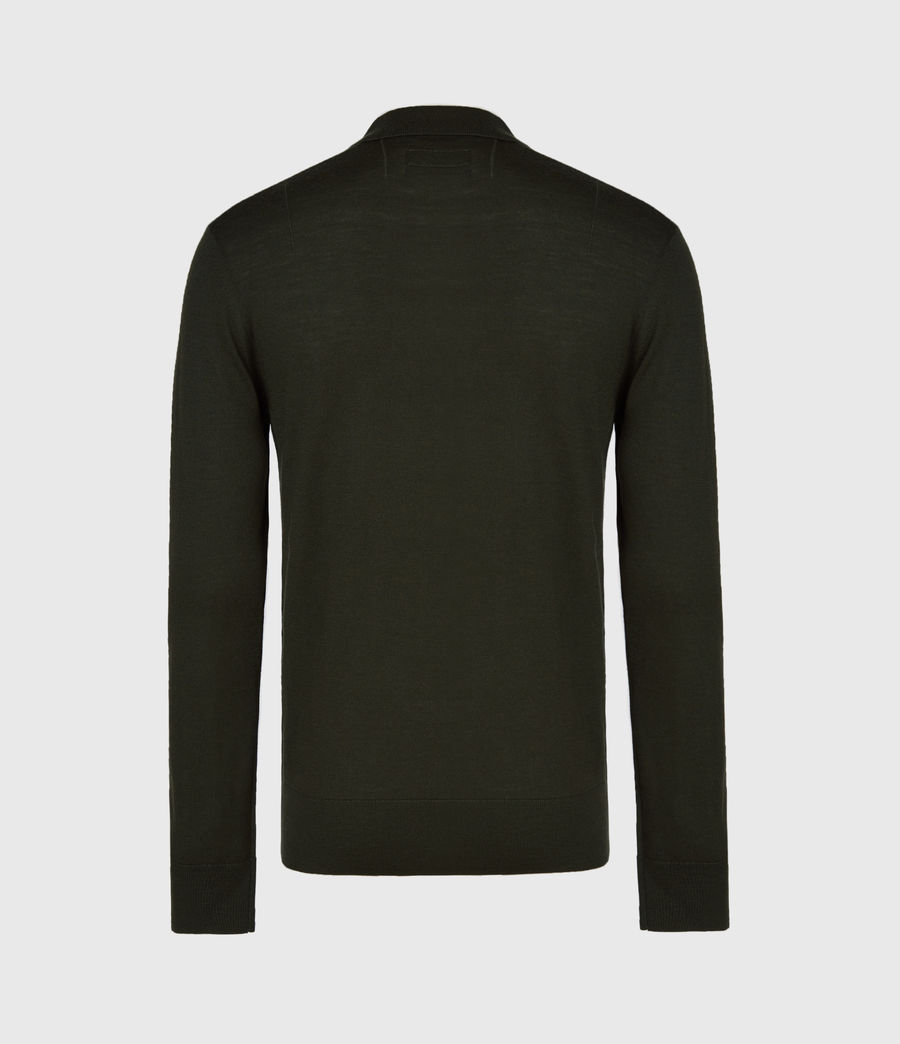 Mens Mode Merino Long Sleeve Polo Shirt (grey_marl) - Image 3