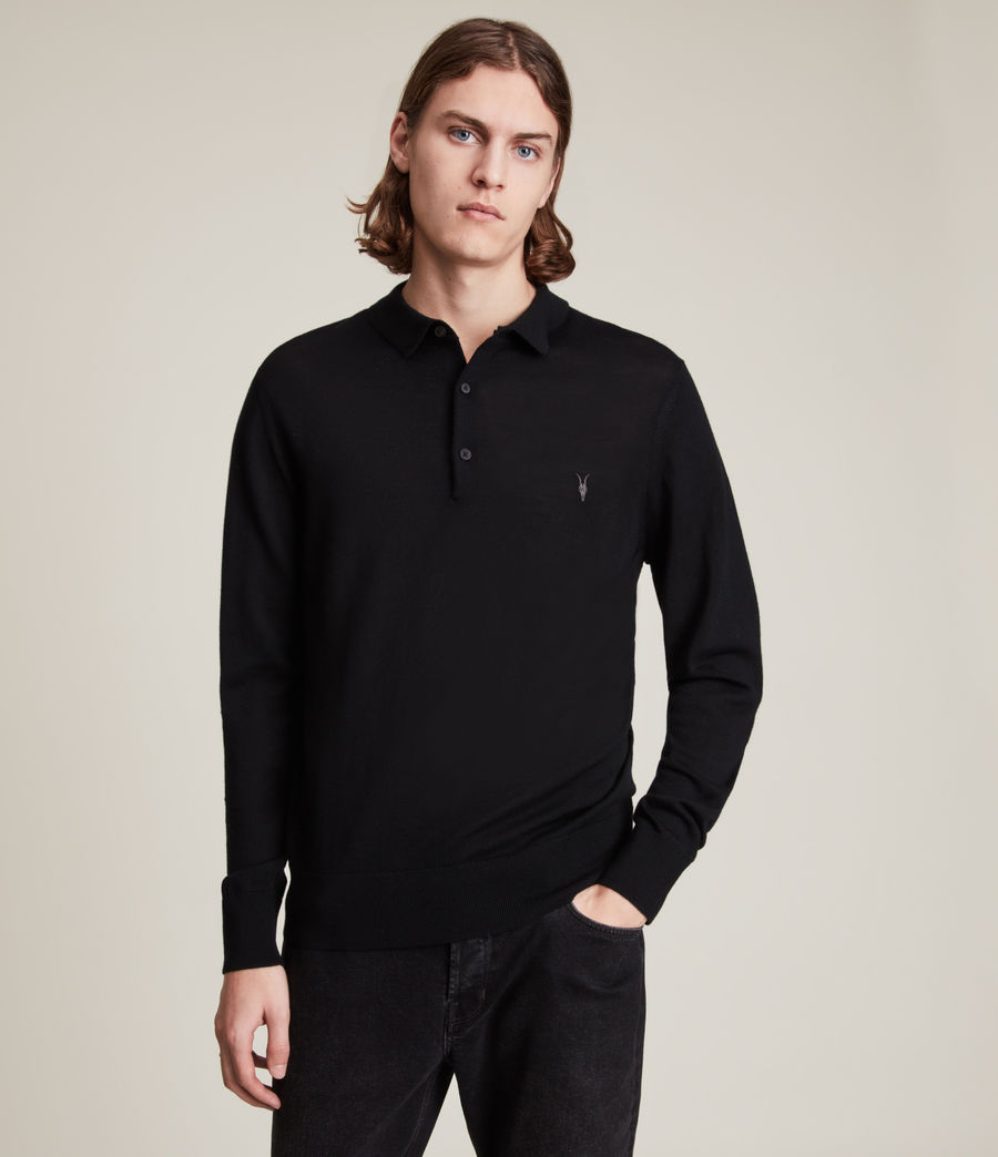 Men's Mode Merino Long Sleeve Polo Shirt (black) - Image 1