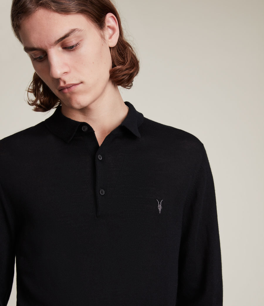 Men's Mode Merino Long Sleeve Polo Shirt (black) - Image 2