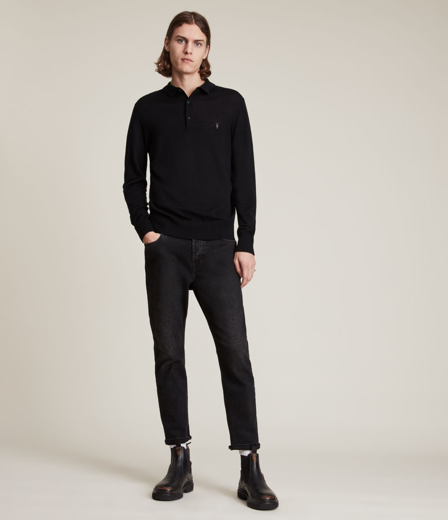 Men's Mode Merino Long Sleeve Polo Shirt (black) - Image 3