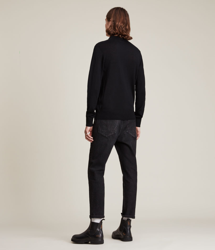 Men's Mode Merino Long Sleeve Polo Shirt (black) - Image 4