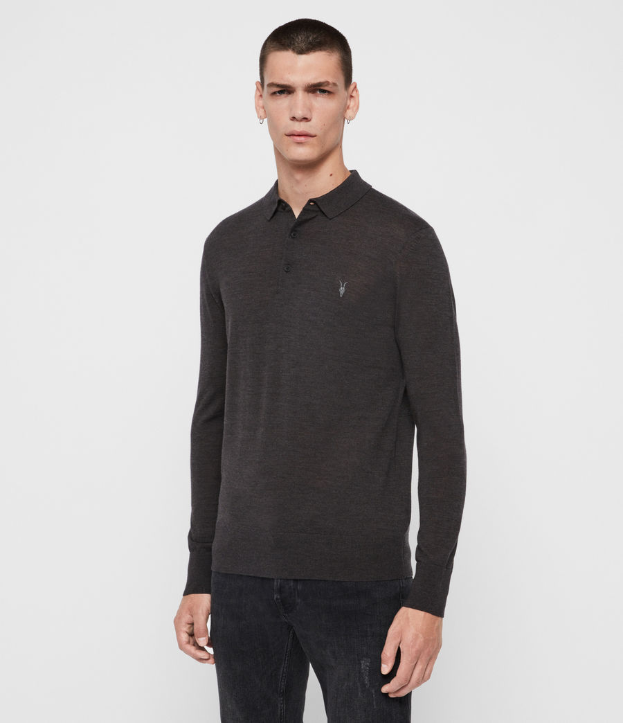 Men's Mode Merino Long Sleeve Polo Shirt (grey_marl) - Image 3