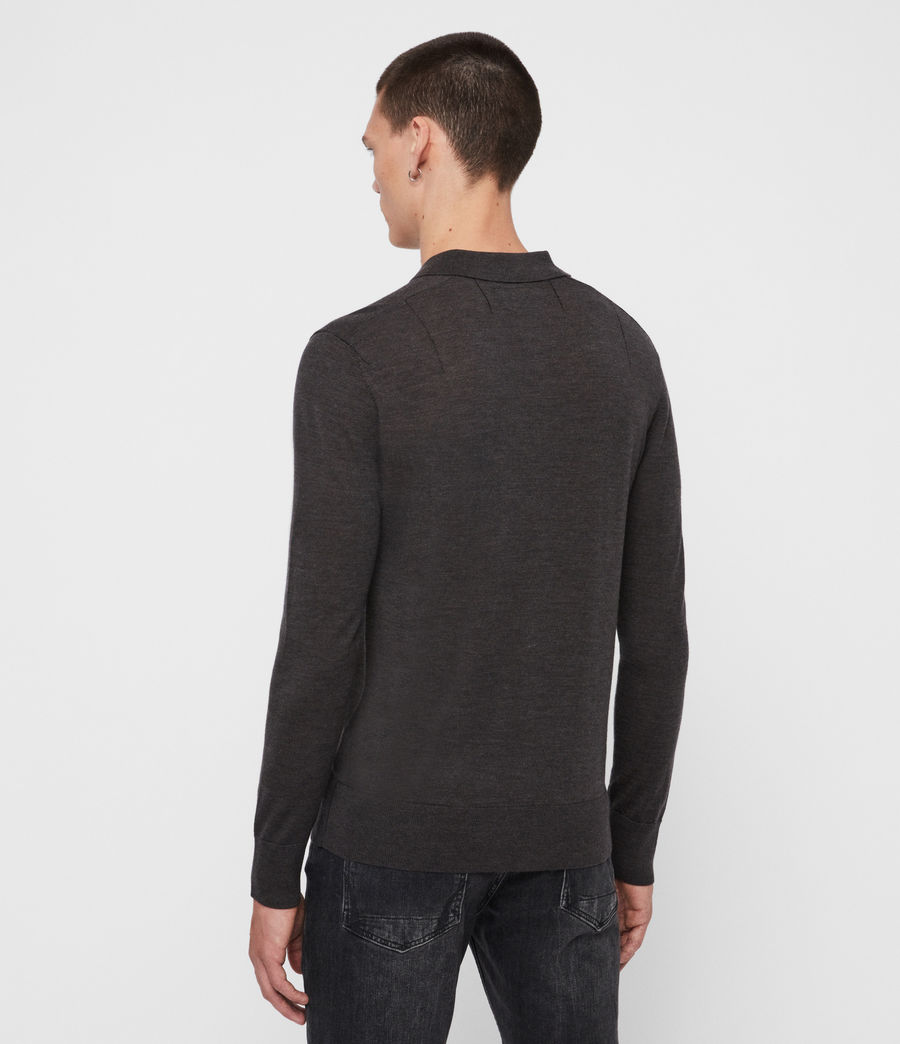Men's Mode Merino Long Sleeve Polo Shirt (grey_marl) - Image 5
