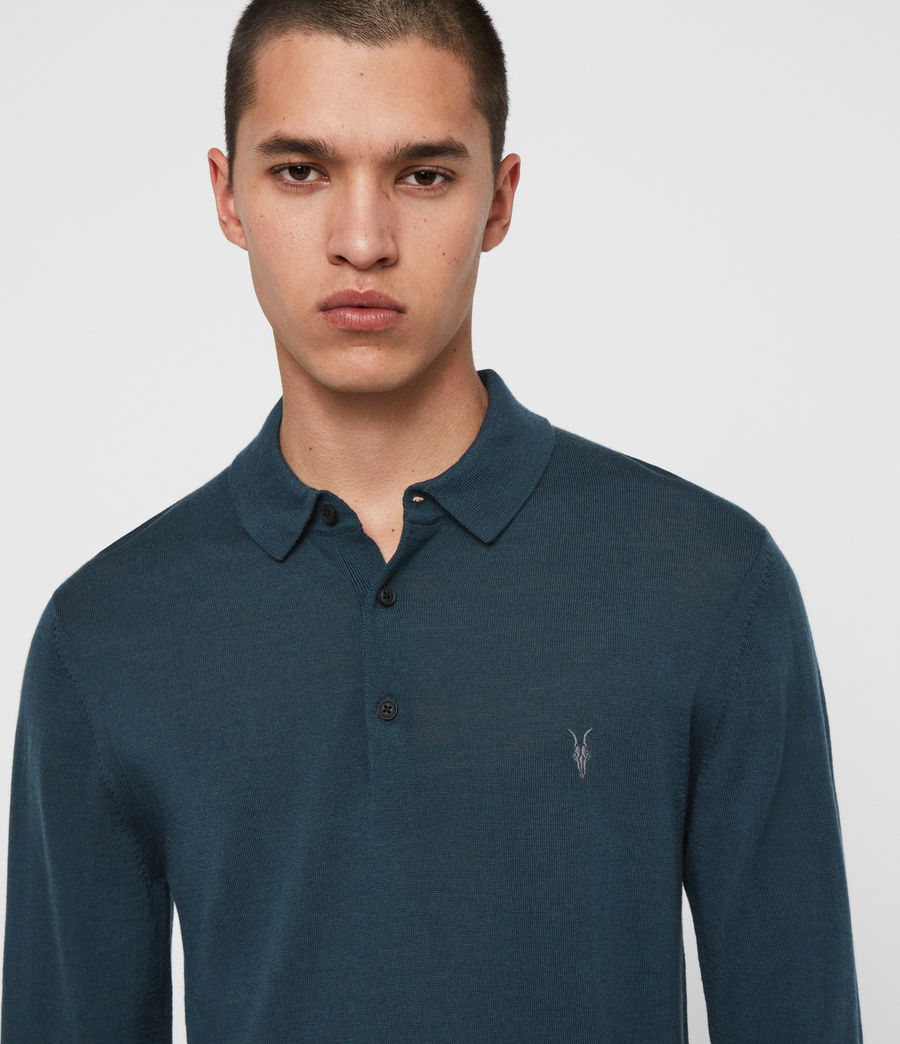 Men's Mode Merino Long Sleeve Polo Shirt (grey_marl) - Image 2