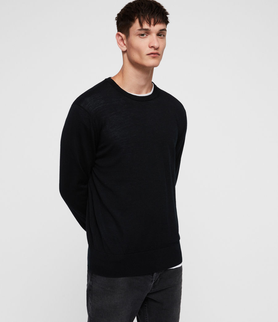 Mens Lang Merino Crew Sweater (black) - Image 1