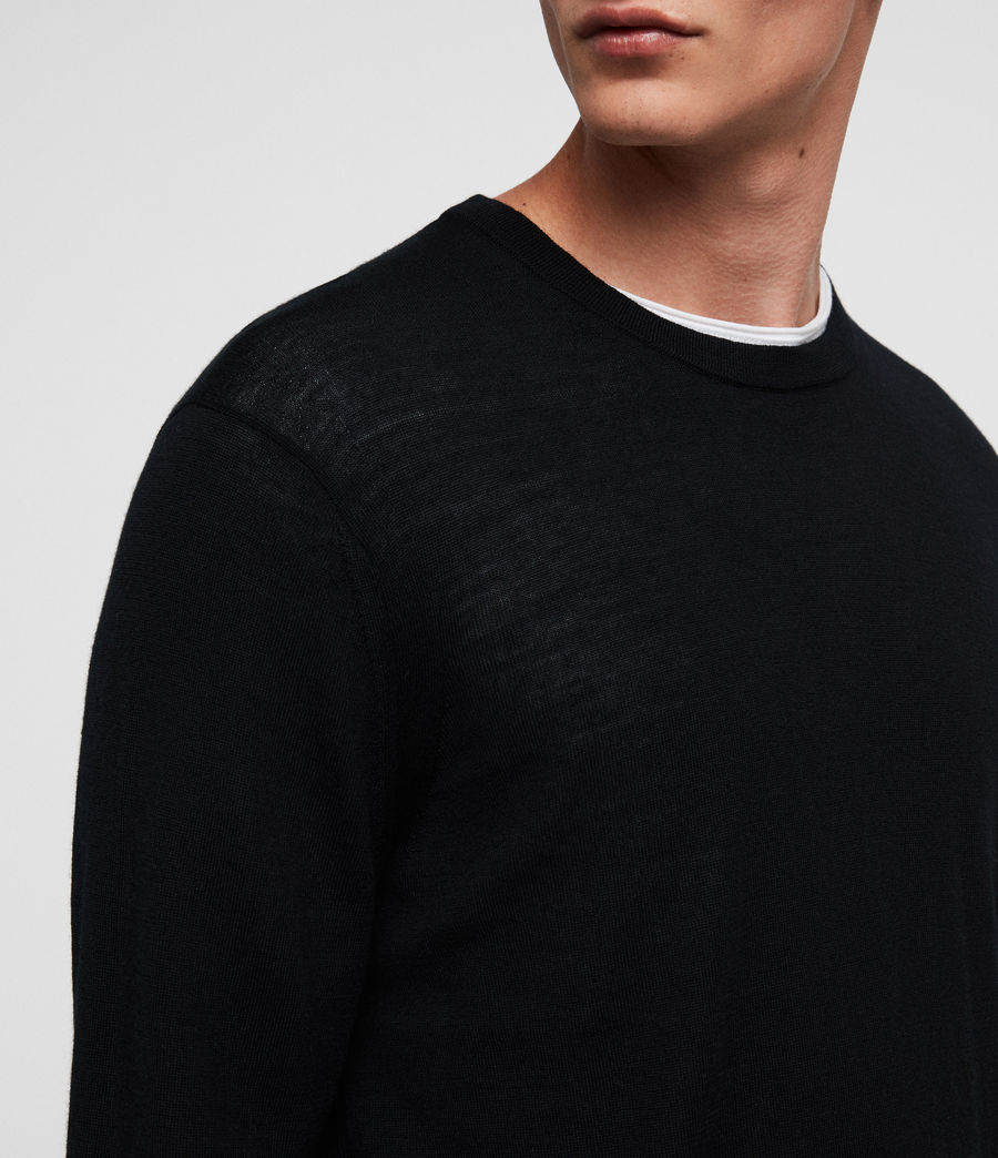 Mens Lang Merino Crew Sweater (black) - Image 2