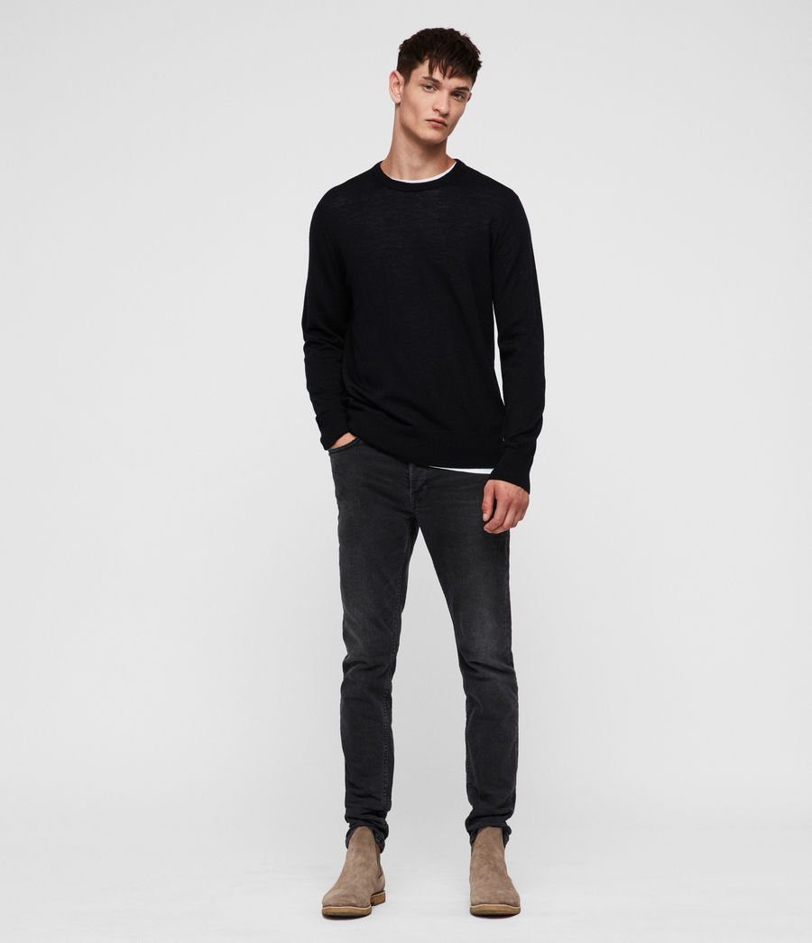 Mens Lang Merino Crew Sweater (black) - Image 3