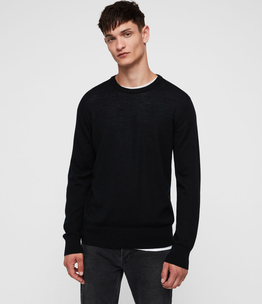 Mens Lang Merino Crew Sweater (black) - Image 4