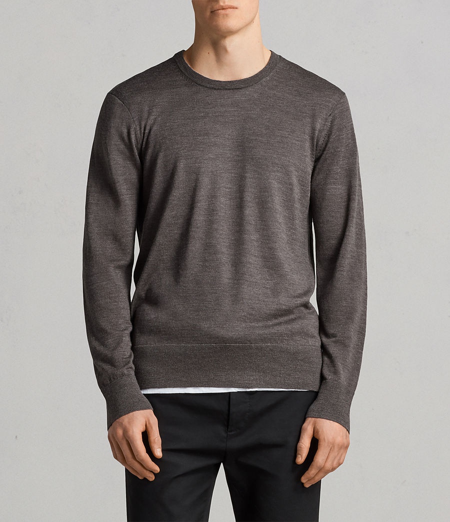 Mens Lang Merino Crew Sweater (HEATH GREY MARL) - Image 1