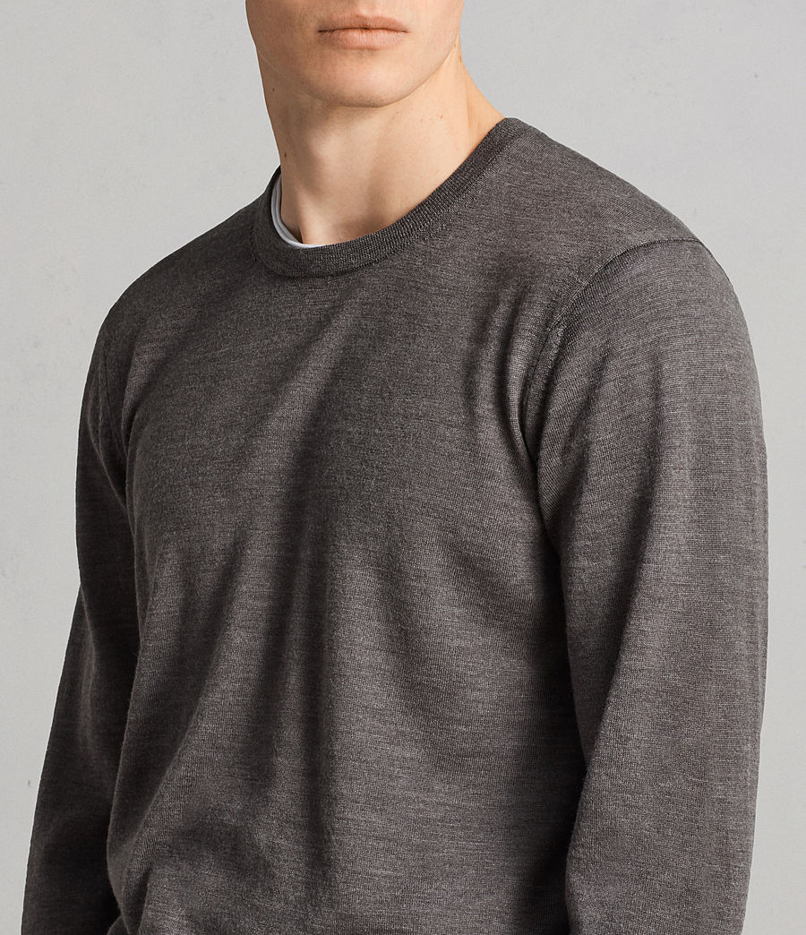 Men's Lang Merino Crew Jumper (HEATH GREY MARL) - Image 2