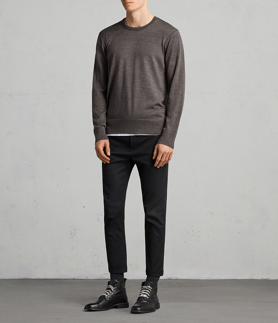 Men's Lang Merino Crew Jumper (HEATH GREY MARL) - Image 3
