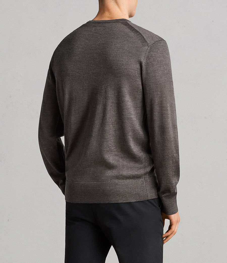 Men's Lang Merino Crew Jumper (HEATH GREY MARL) - Image 5