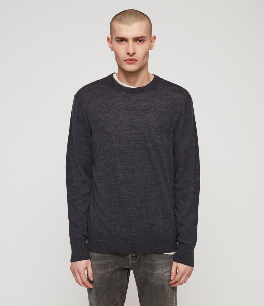 Mens Lang Merino Crew Sweater (iron_blue_marl) - Image 1