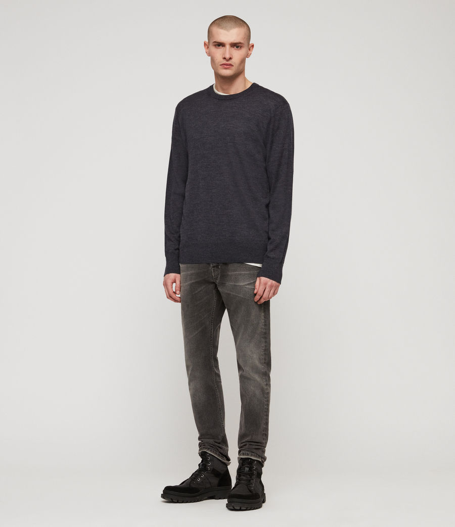 Mens Lang Merino Crew Sweater (iron_blue_marl) - Image 3