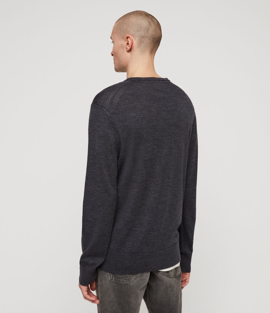 Mens Lang Merino Crew Sweater (iron_blue_marl) - Image 4