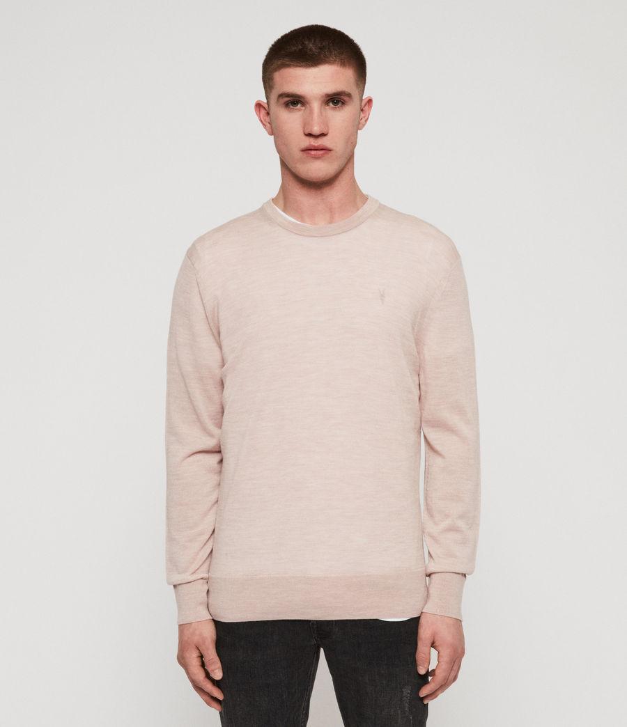 Mens Lang Merino Crew Sweater (haze_pink_marl) - Image 1