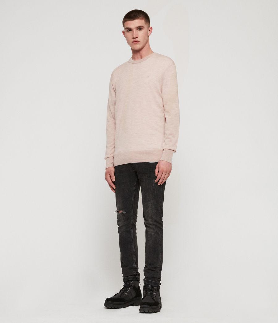 Mens Lang Merino Crew Sweater (haze_pink_marl) - Image 2