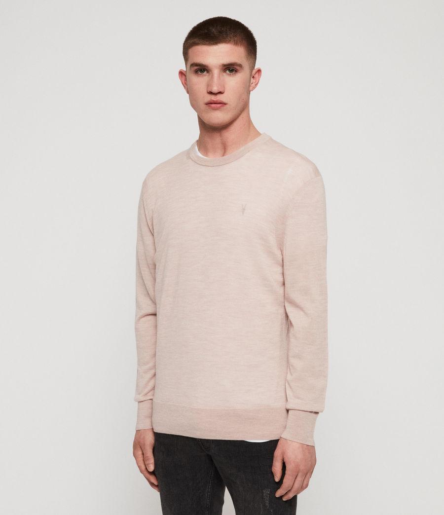 Mens Lang Merino Crew Sweater (haze_pink_marl) - Image 3