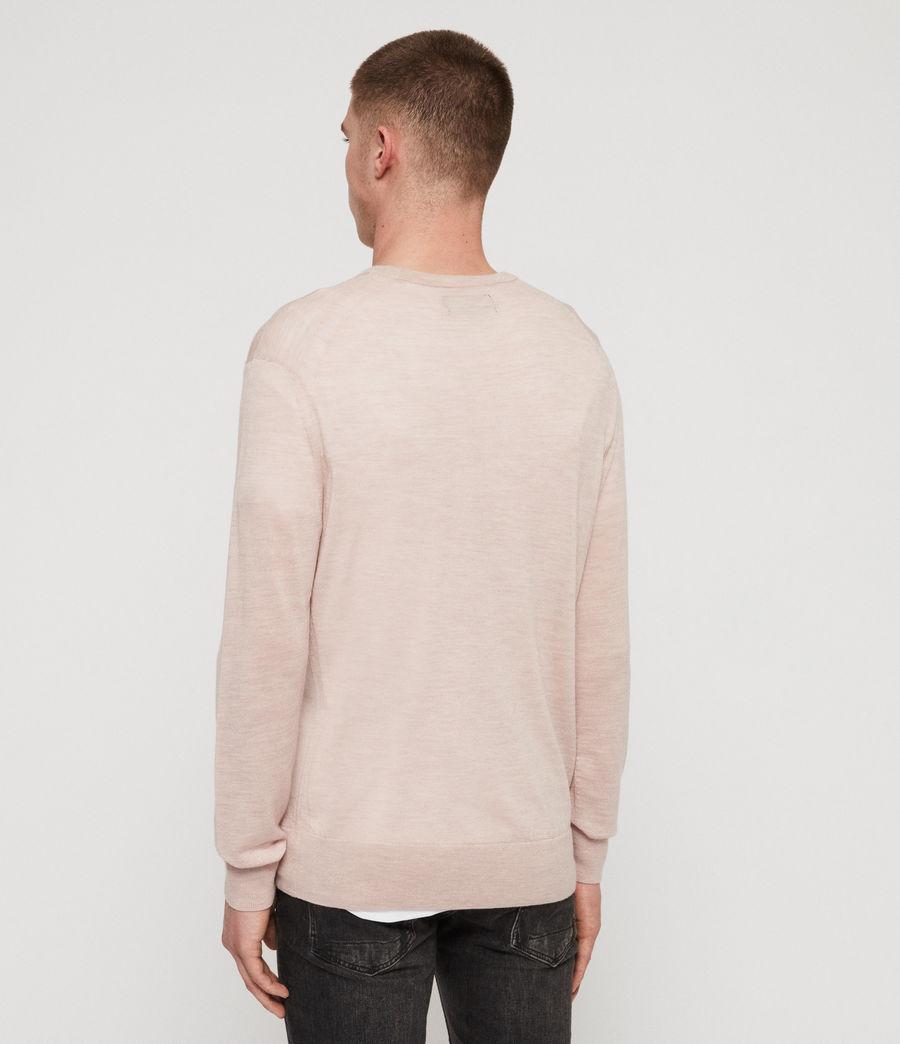 Mens Lang Merino Crew Sweater (haze_pink_marl) - Image 5