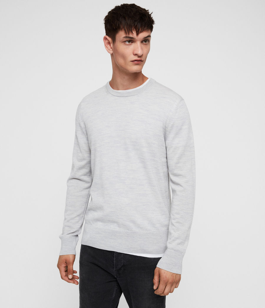 Mens Lang Merino Crew Sweater (light_grey_marl) - Image 1