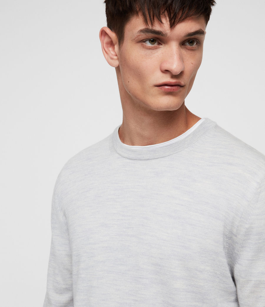 Mens Lang Merino Crew Sweater (light_grey_marl) - Image 2