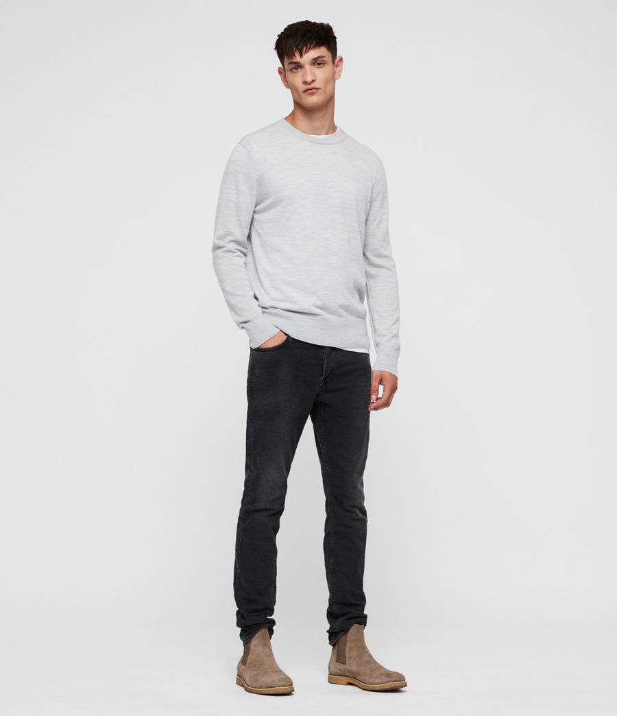 Mens Lang Merino Crew Sweater (light_grey_marl) - Image 3