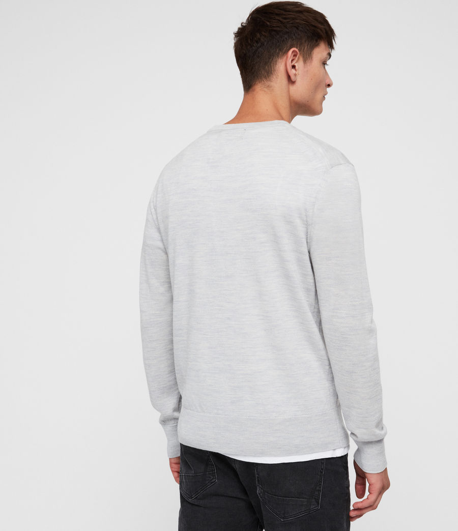 Mens Lang Merino Crew Sweater (light_grey_marl) - Image 4