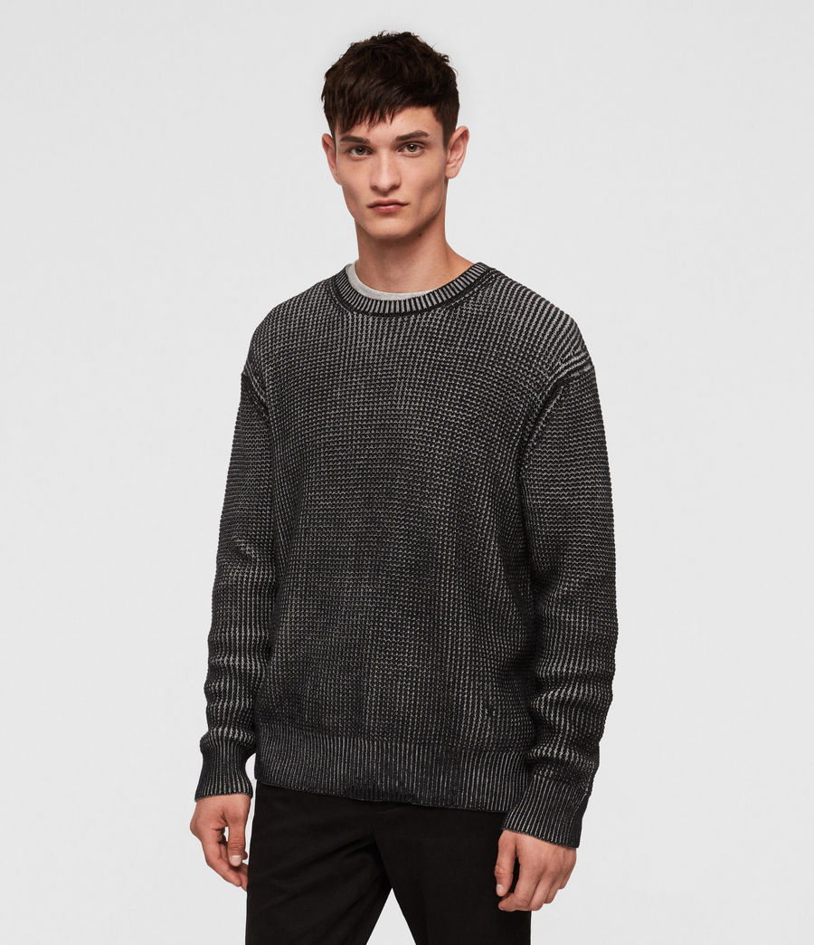 Mens Quarter Crew Sweater (black_marl) - Image 1
