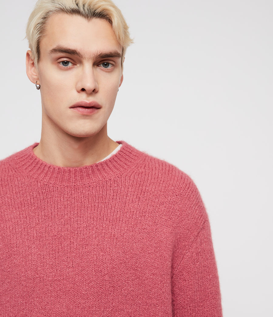 Mens Ridden Crew Sweater (moth_pink_marl) - Image 2