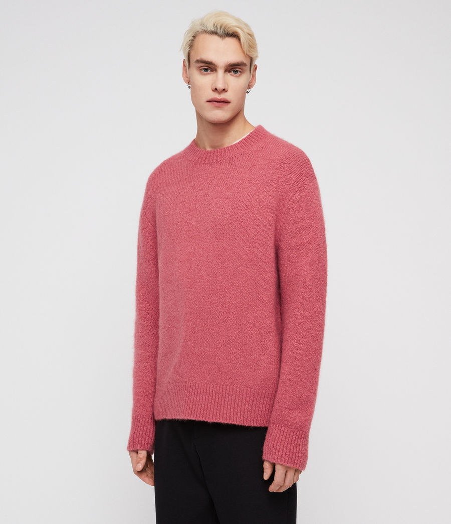 Mens Ridden Crew Sweater (moth_pink_marl) - Image 3