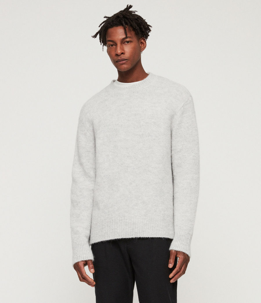 Men's Ridden Crew Jumper (light_grey_marl) - Image 1