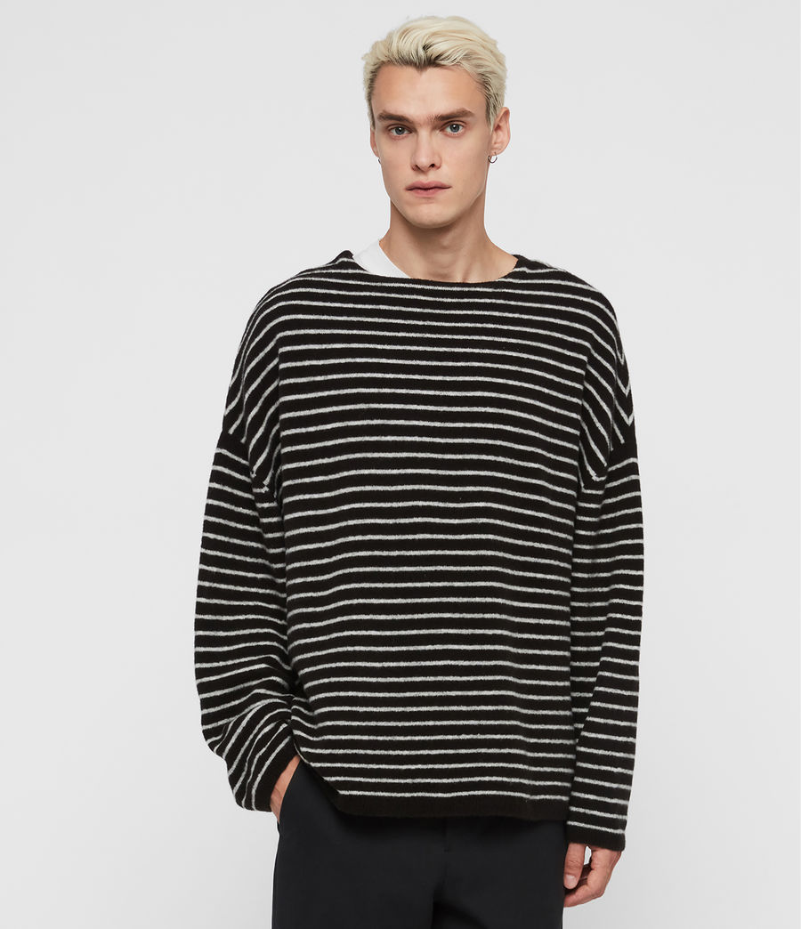 Men's Larik Crew Jumper (black_grey_marl) - Image 1