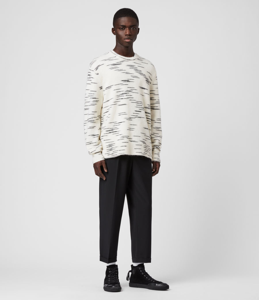 Mens Flux Crew Sweater (white_black) - Image 1