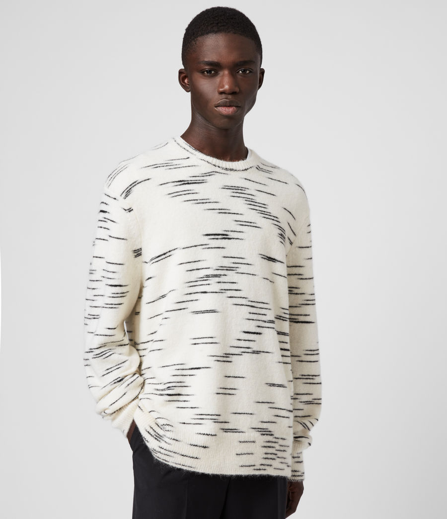 Mens Flux Crew Sweater (white_black) - Image 4