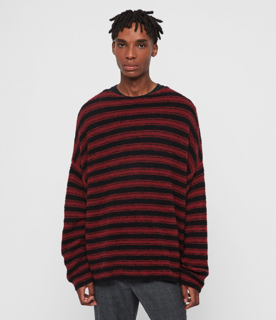 Men's Rivven Crew Jumper (barn_red_black) - Image 1