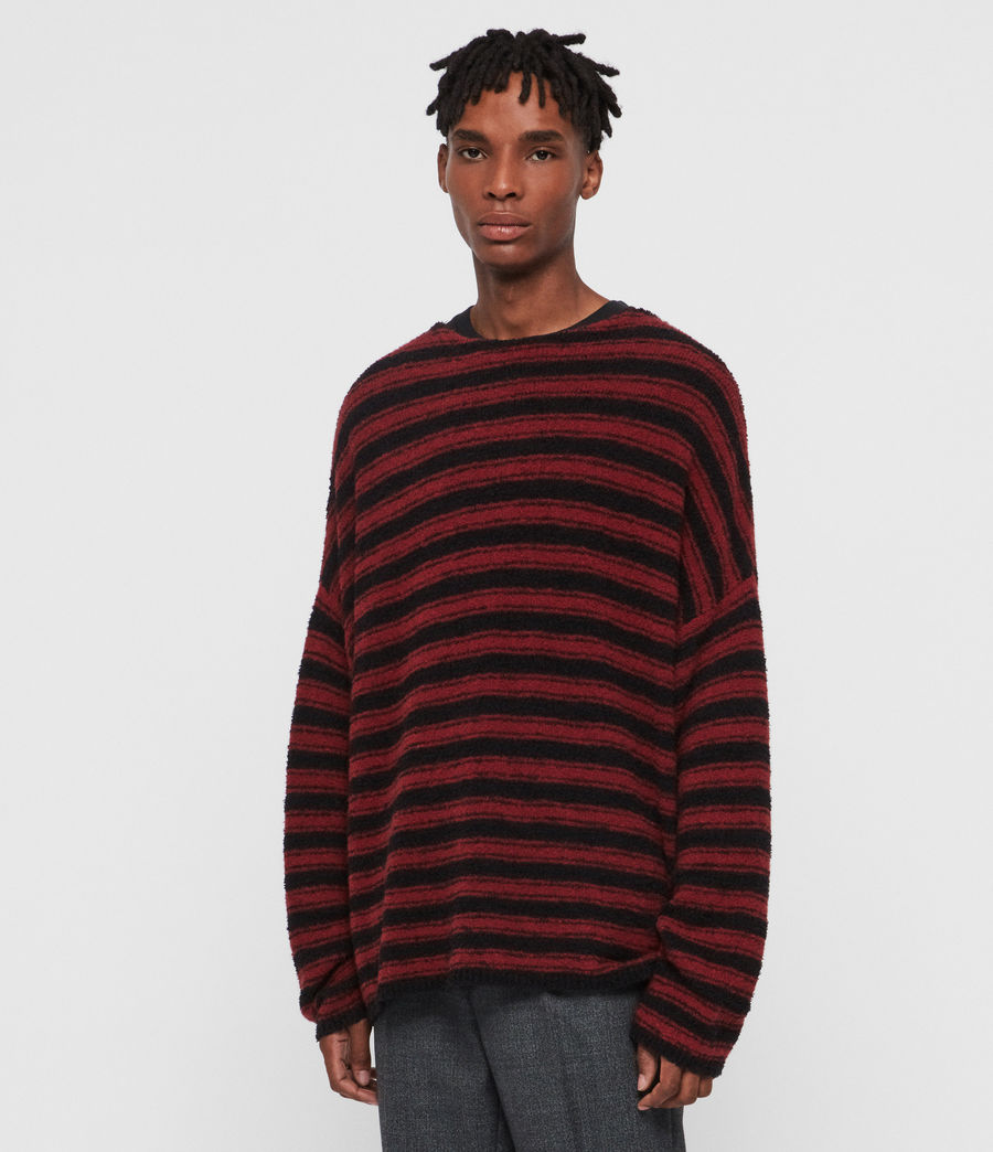 Mens Rivven Crew Sweater (barn_red_black) - Image 4