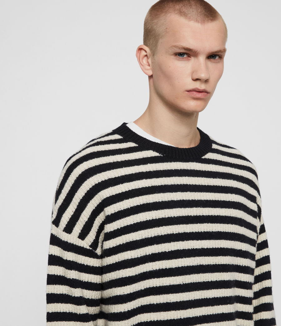 Men's Keet Crew Jumper (ink_navy_ecru) - Image 2