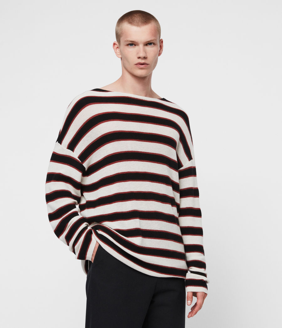 Mens Terren Crew Sweater (ecru_black_red) - Image 1