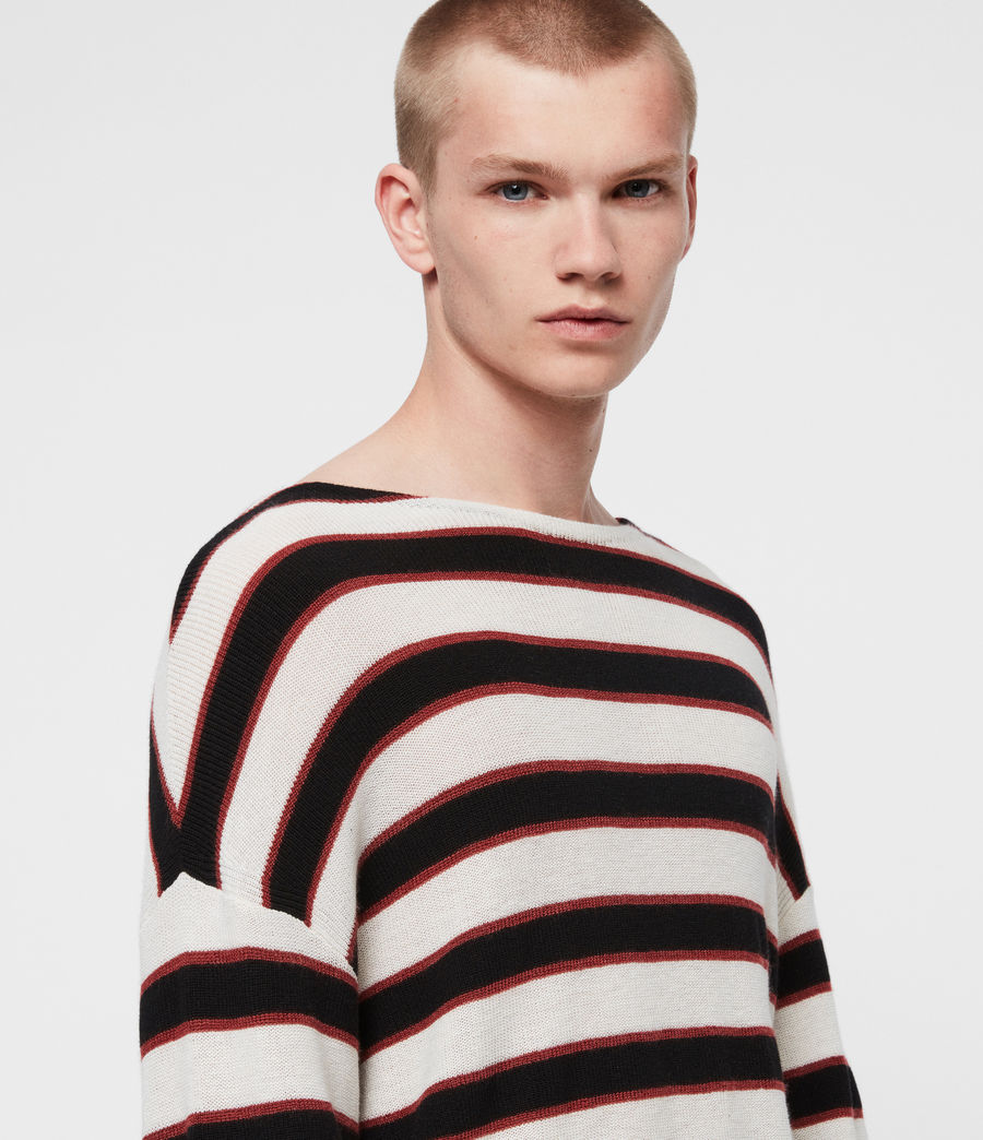 Mens Terren Crew Sweater (ecru_black_red) - Image 2
