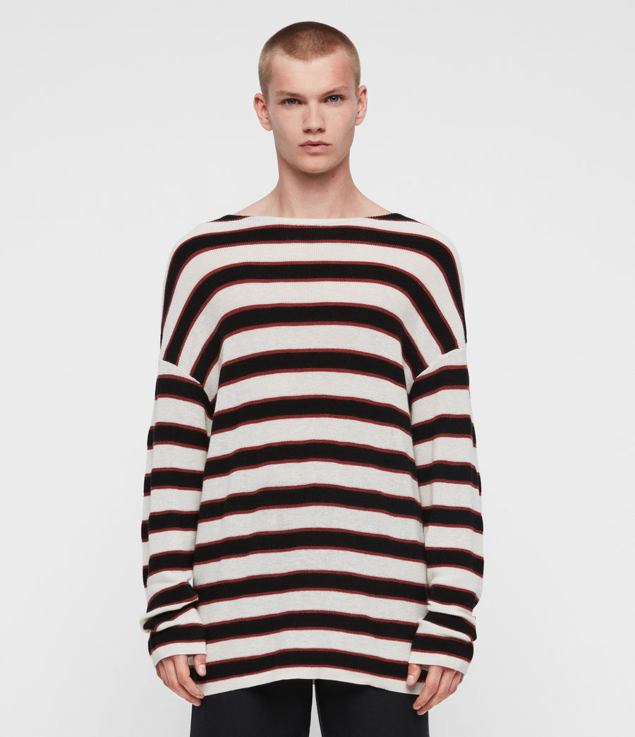 Mens Terren Crew Sweater (ecru_black_red) - Image 3