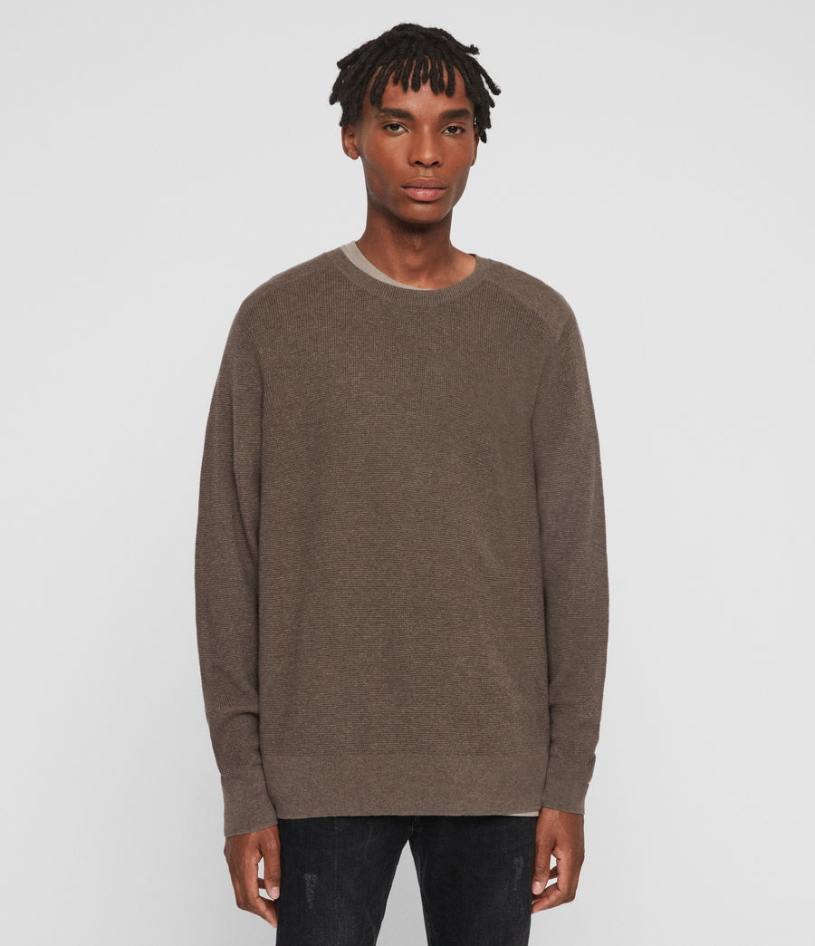 Mens Eben Crew Sweater (fawn_brown_marl) - Image 1