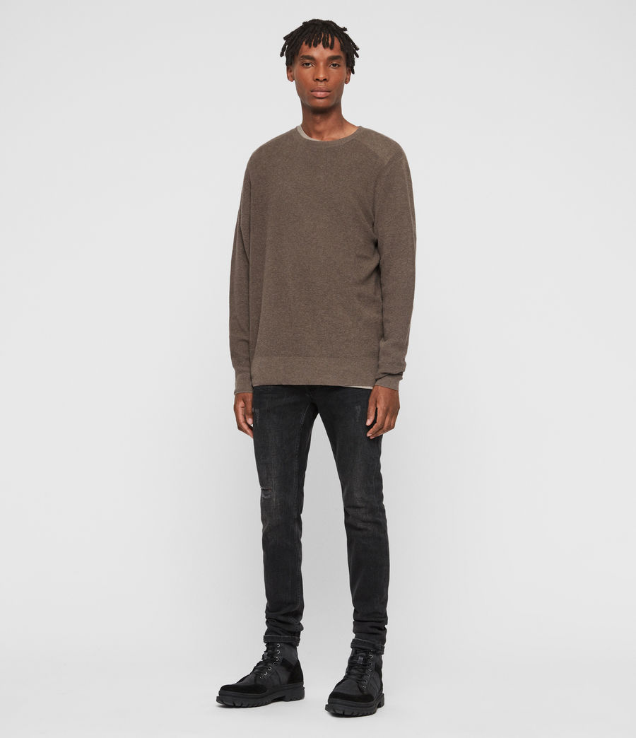 Men's Eben Crew Jumper (fawn_brown_marl) - Image 3